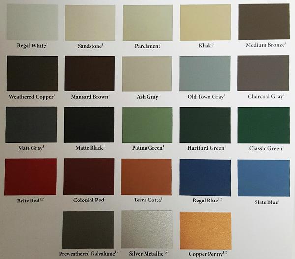 Color Chart (24 Gauge)